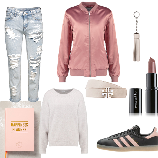 OneOutfitPerDay 2016-10-09 - #ootd #outfit #fashion #oneoutfitperday #fashionblogger #fashionbloggerde #frauenoutfit #herbstoutfit - Frauen Outfit Herbst Outfit Outfit des Tages Winter Outfit adidas Adidas Originals ADPT. Anthropologie Ash Blau Bomberjacke denim Filippa K Glamorous Lippenstift Michael Kors Misslyn Ripped rose Sneaker Strickpullover Tory Burch