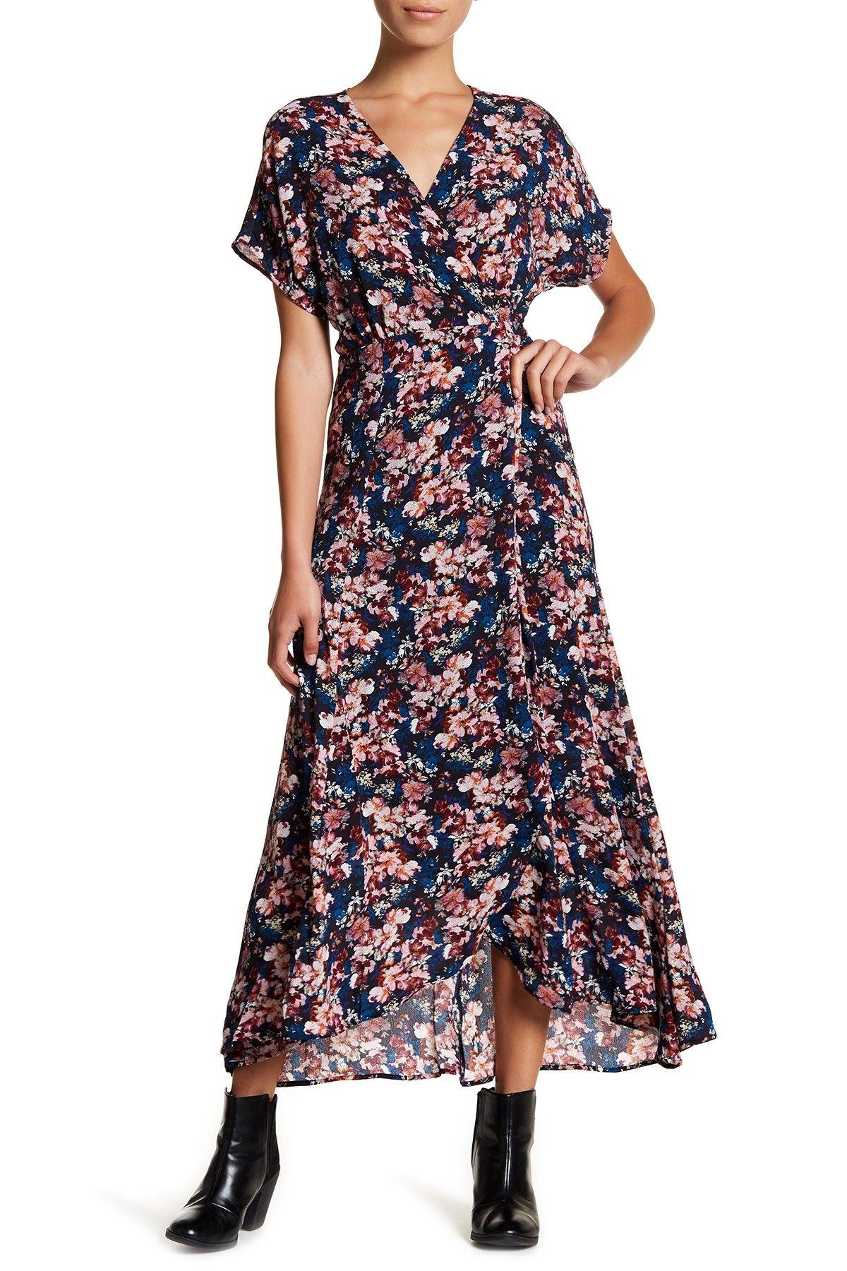 Bobeau short sleeve print wrap maxi dress petite fashion women