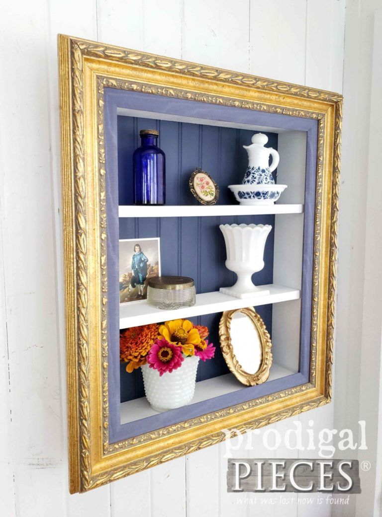 Repurposed Picture Frame Shelf Shadow Box Shelves
