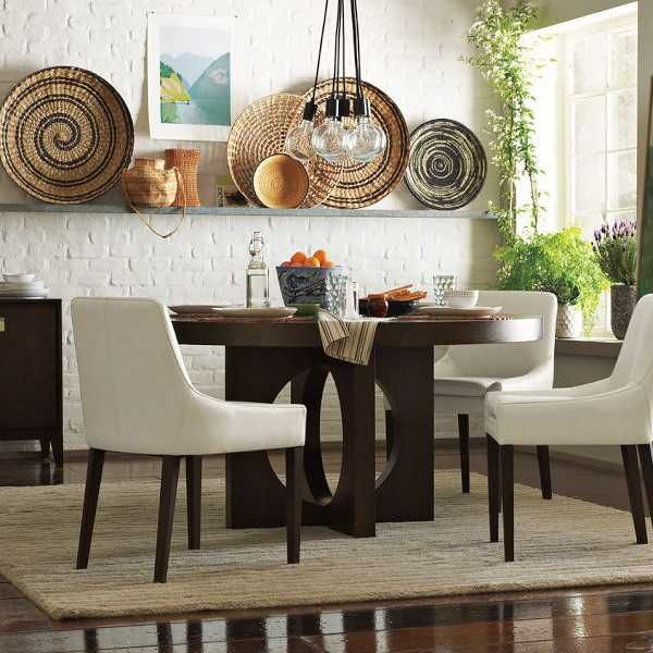 Modern Wall Decoration With Ethnic Wicker Plates Bowls And Baskets
