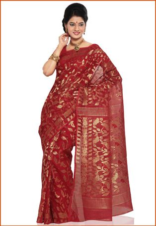 3e04898e95241 Red Cotton Dhakai Jamdani Saree with Blouse