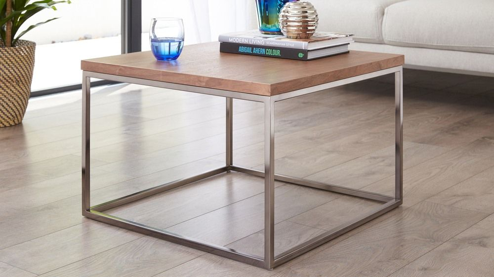 Acute Walnut And Black Chrome Square Coffee Table Stoliki