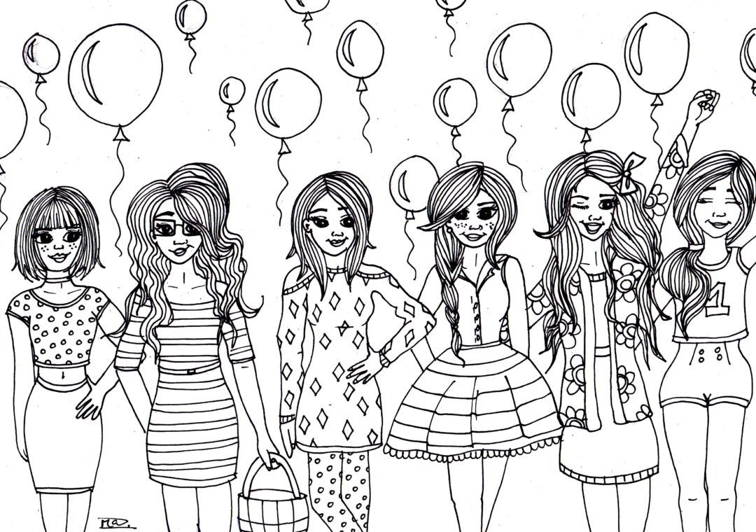 with balloons coloring page free printable