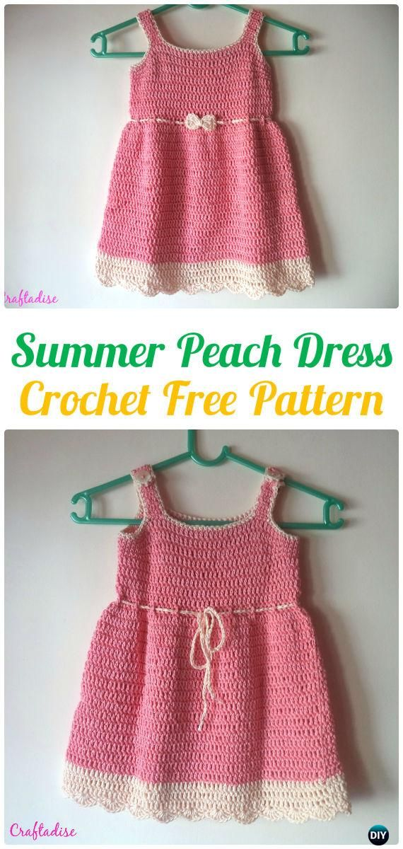 Crochet Summer Peach Dress Free Pattern - Crochet Girls Dress Free ...