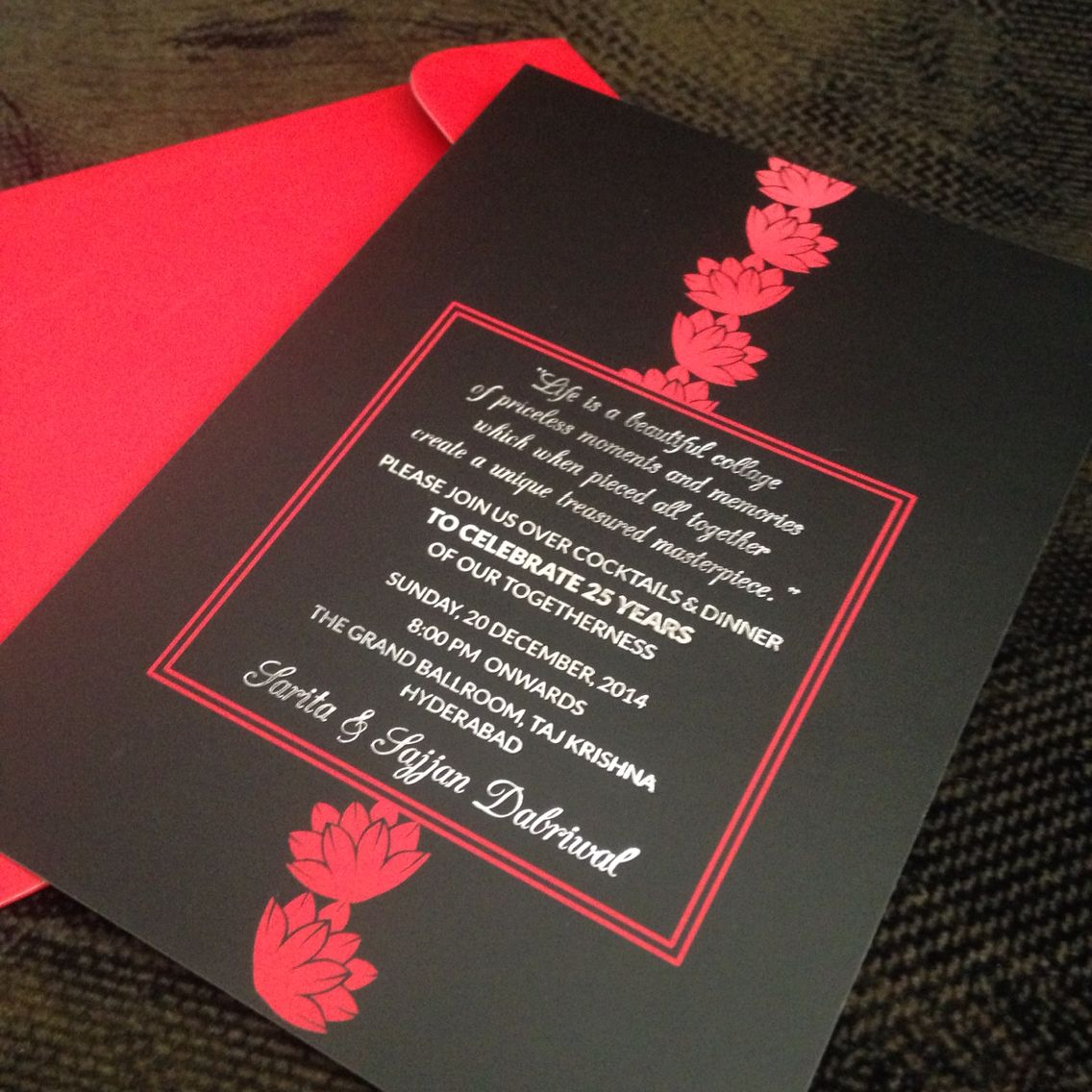 lotus flower wedding invitations%0A    anniversary  invitation  Theme black and red  Modern take on  lotus with