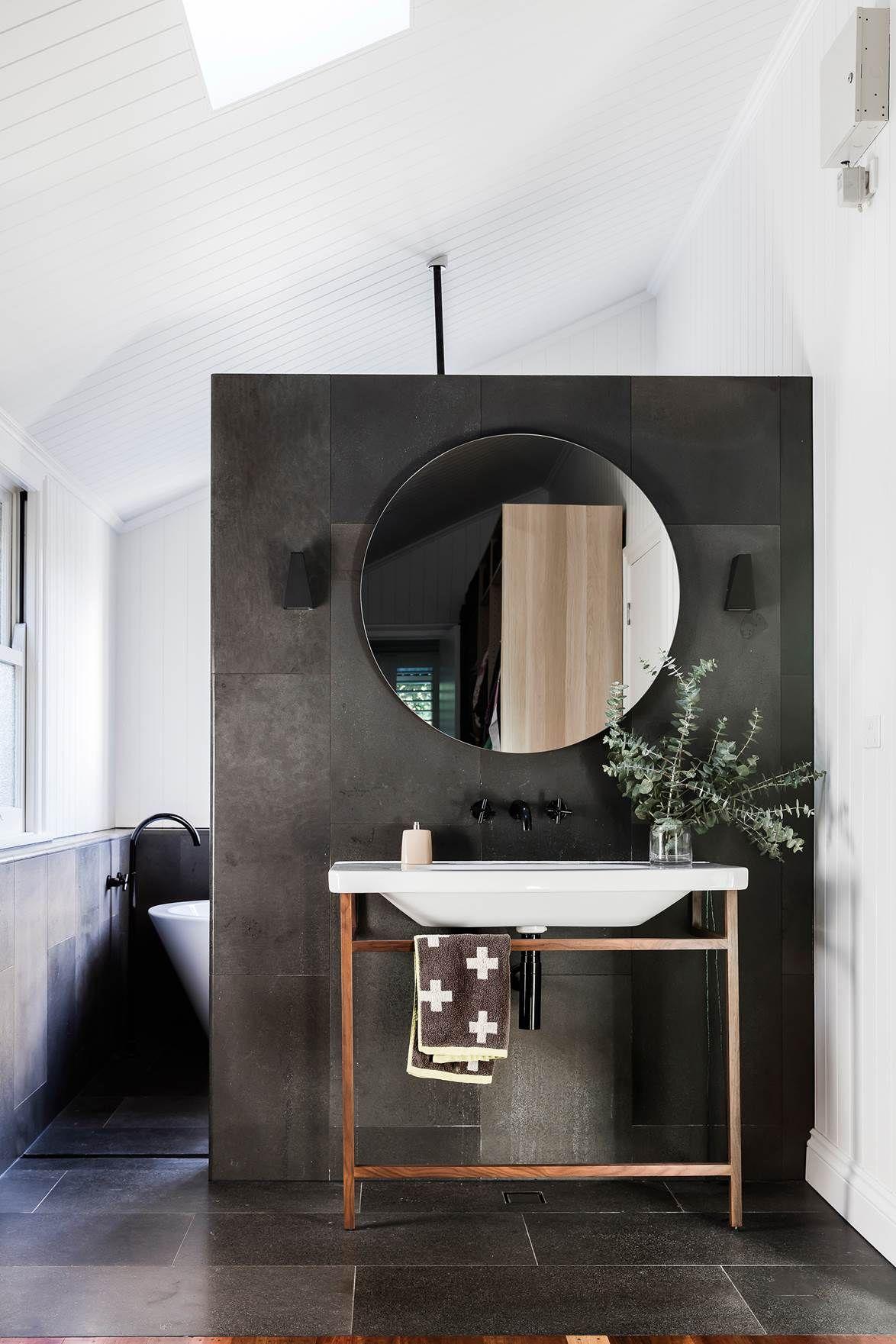 Dark bathroom tiles Photo Maree Homer