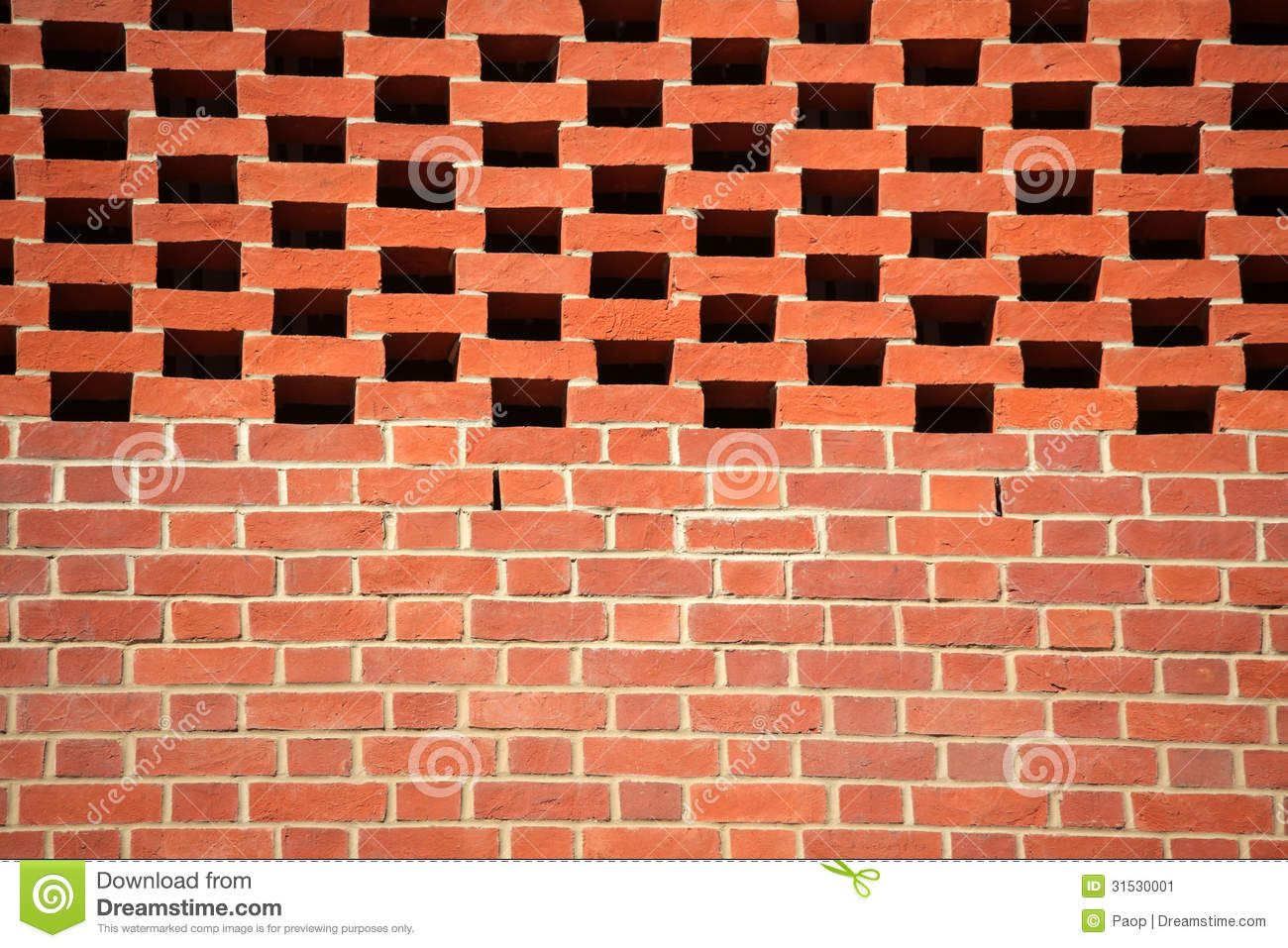 Wall Hole Design : Brick wall pattern red bricks newly constructed building