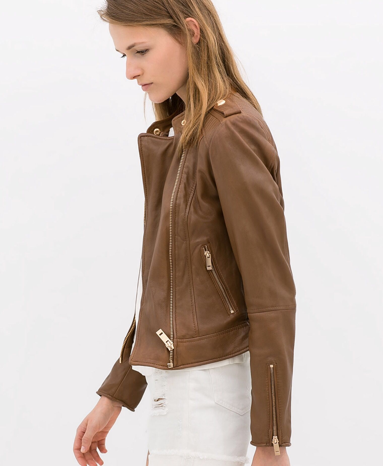 Zara tan leather jacket + gold hardware Zara leather