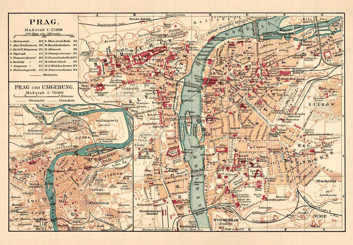 Old Map Of Prague Fine Reproduction Of A Vintage Map Available On Paper Or Canvas In 2020 Prague Map Old Map Lithography Prints