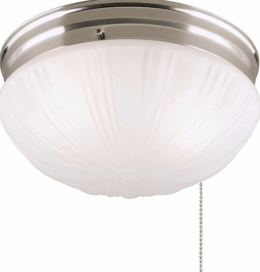2 Light Brushed Nickel Flush Mount Ceiling Fixture With Pull Chain New Lighting