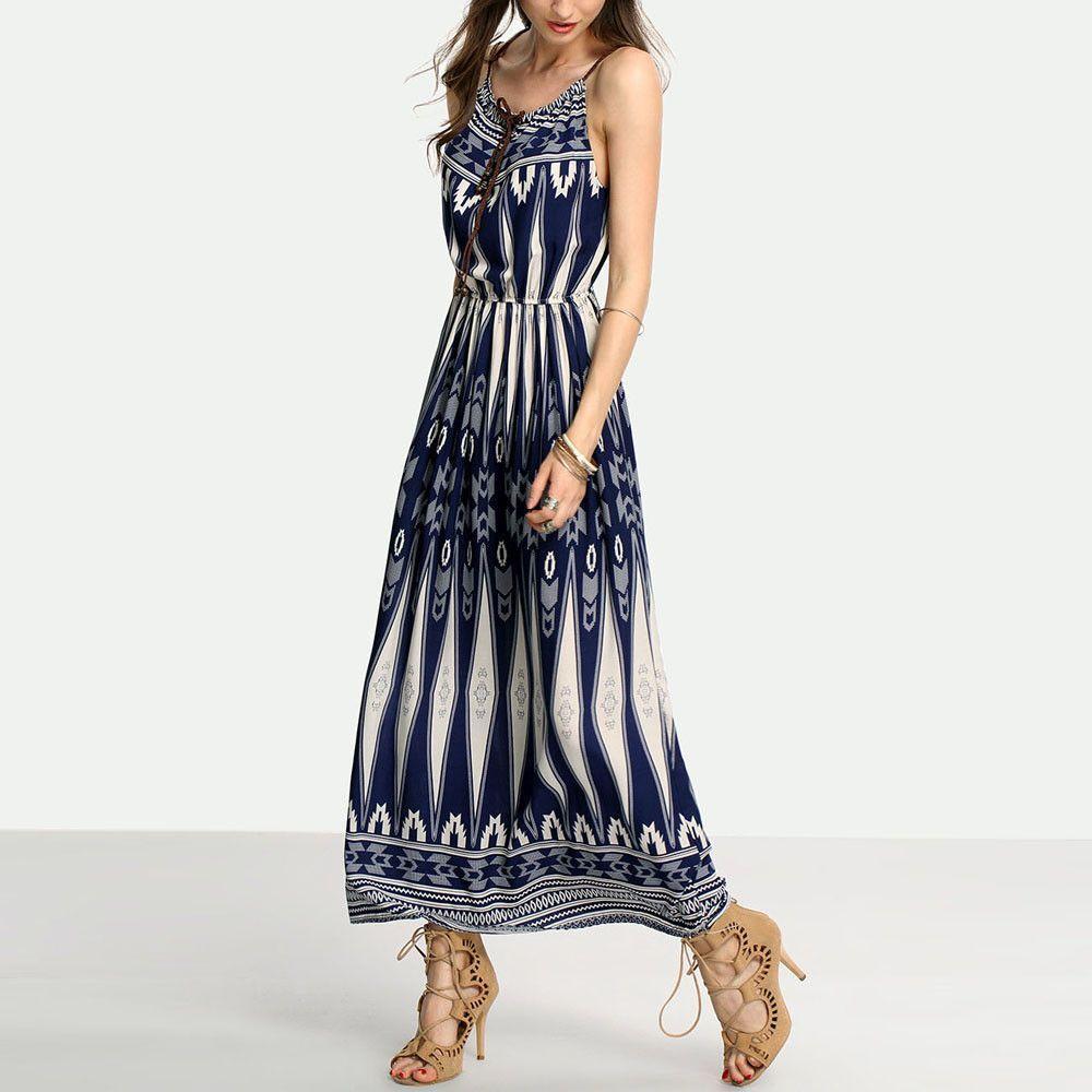 Beach Maxi Dress Women Summer Sexy Sleeveless Boho Printed Long Dresses Womens Casual Party Dress Vestidos #Zer