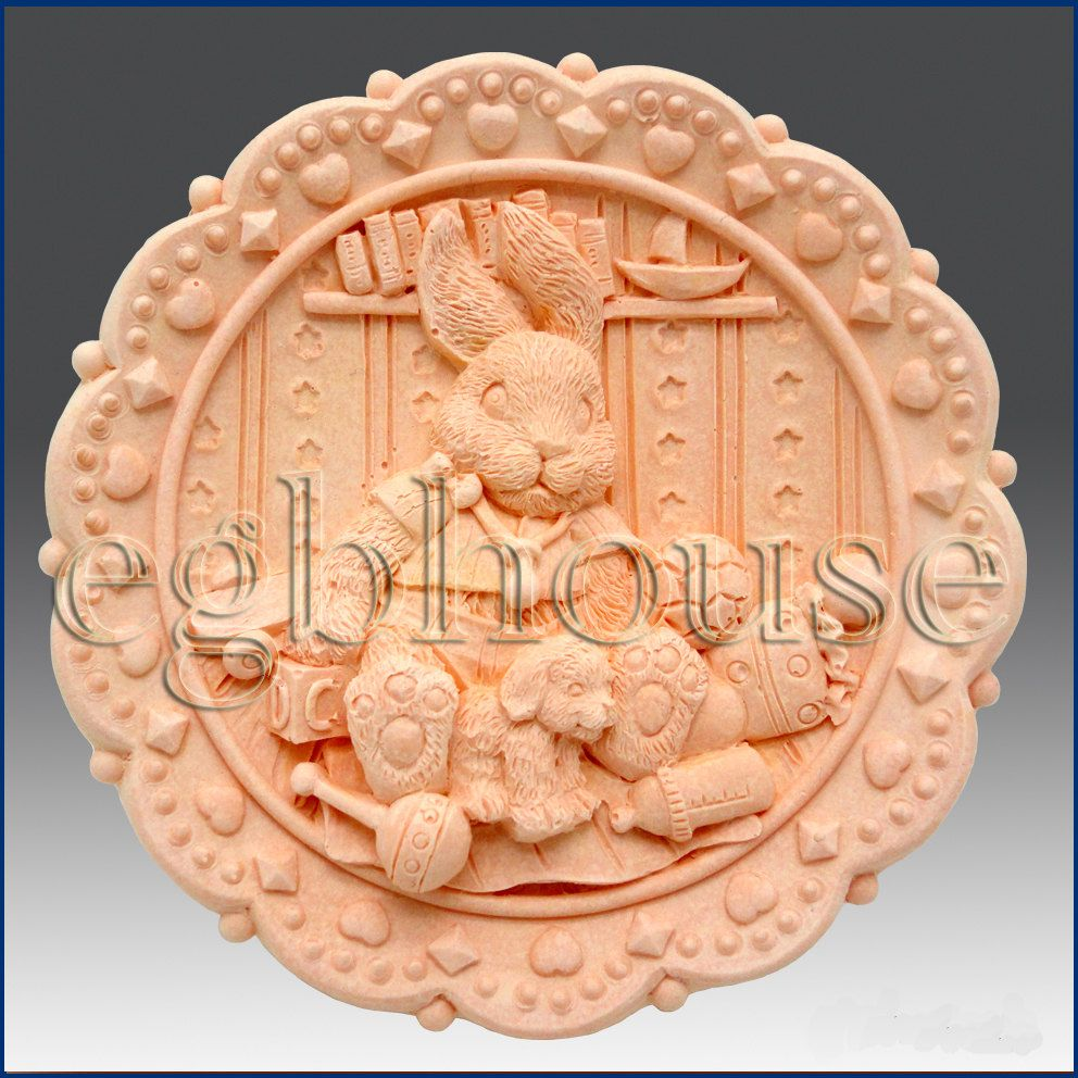 D silicone soap mold country bunny toyland girl free shipping