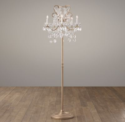 Solves my wanting to keep a ceiling fan in the master d home rh baby childs manor court crystal floor lamp aged goldinspired by an antique find our regal floor lamp scrolling arms are draped with strands of aloadofball Gallery