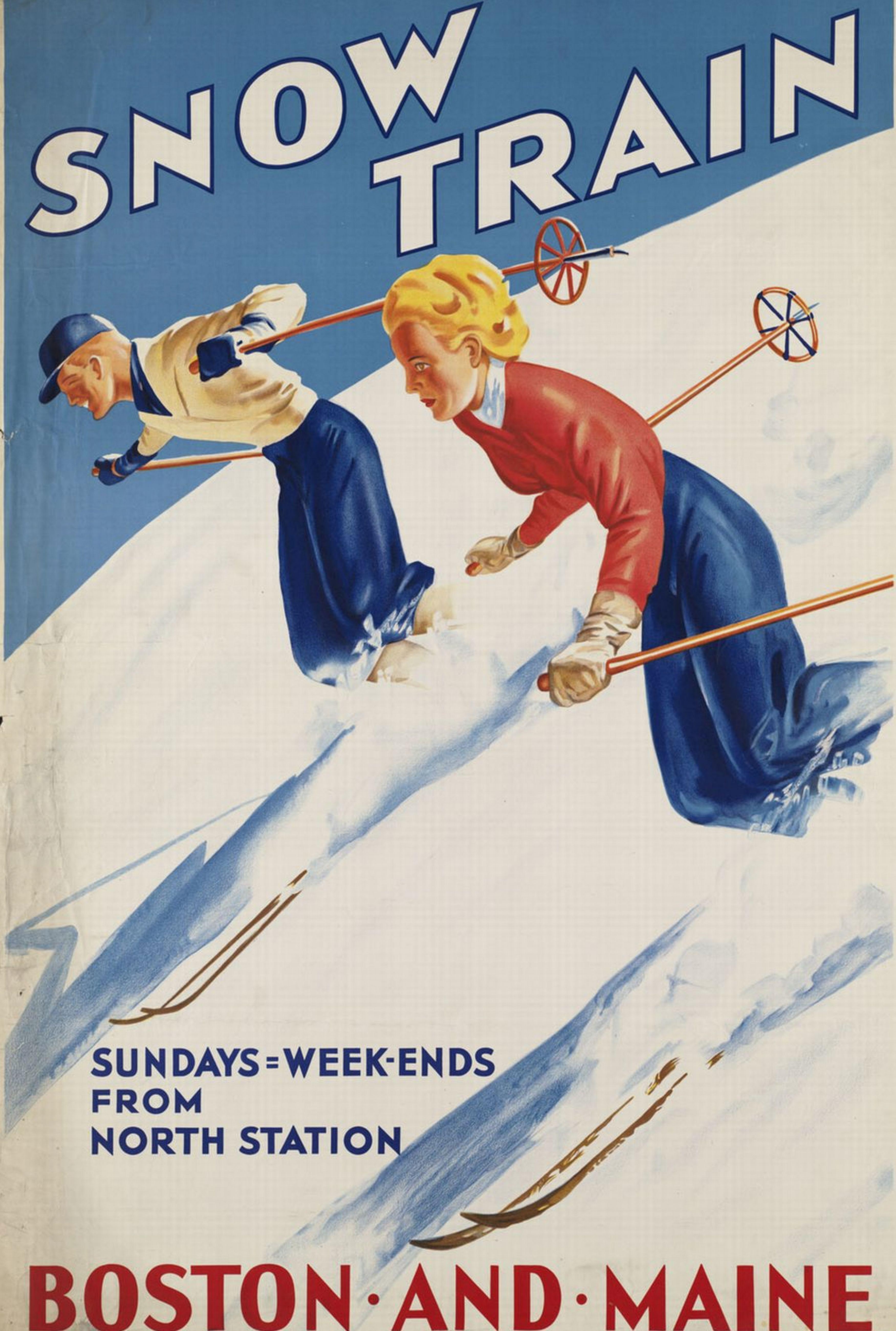 Snow Train Boston Travel Poster