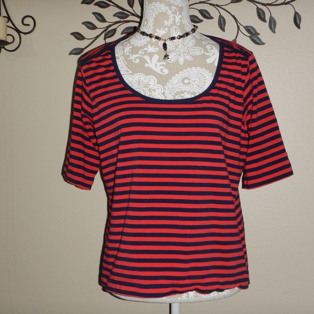 Tommy Hilfiger Womens Coral Red Navy Blue Striped Short Sleeve  Blouse Size XL #TommyHilfiger #Blouse #Casual