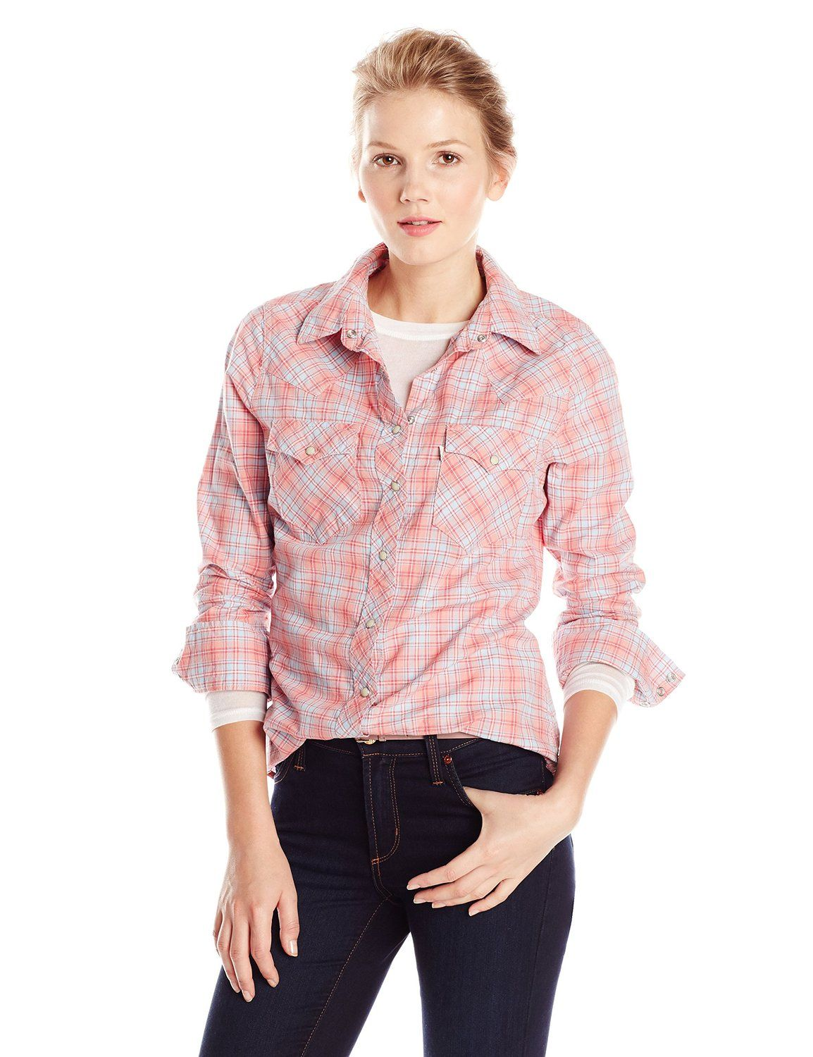 bcc2728f Levi's Women's Plaid Tailored Western Shirt at Amazon Women's Clothing store :
