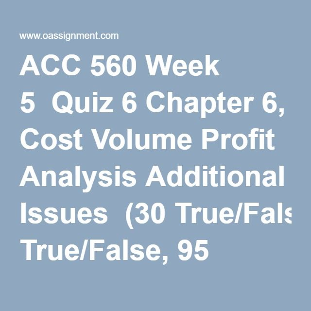 ACC 560 Managerial Accounting Week 1 to 11 | ACC 560 Managerial