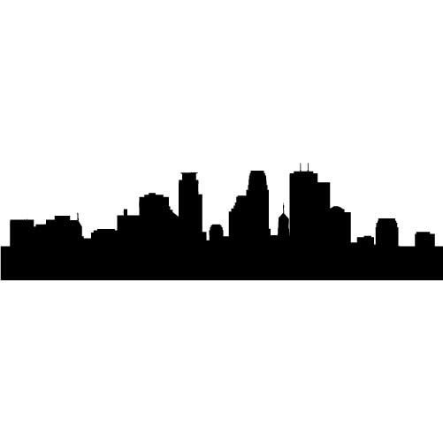 Minneapolis Skyline Silhouette LARGE Vinyl Wall by