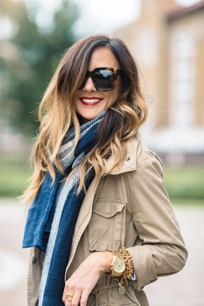 fall outfit idea: khaki utility jacket + plaid scarf