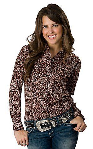 6e1365a901ec06 Rock 47™ by Wrangler® Women's Brown Leopard Print Long Sleeve Western Shirt  | Cavender's Boot City