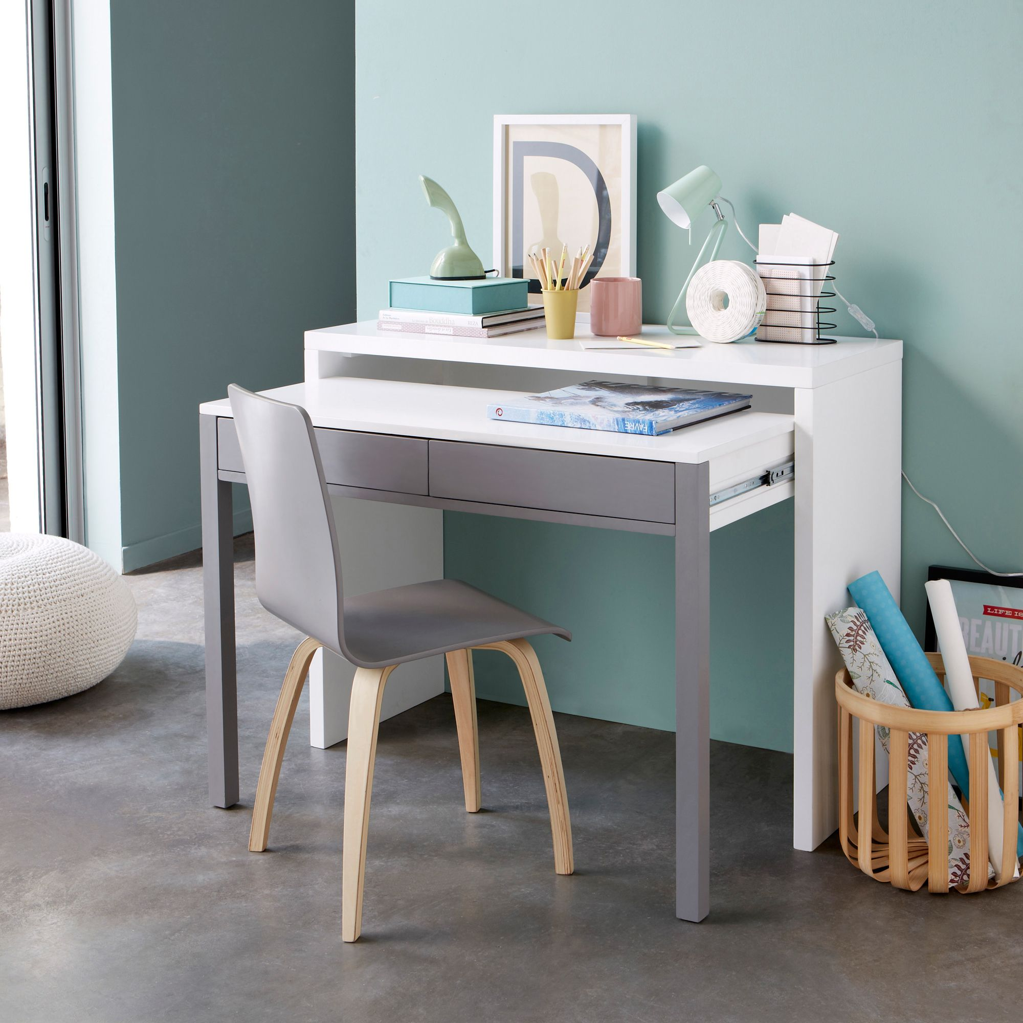 Bureau console 2 tiroirs la version console un meuble for Meuble bureau qui se ferme