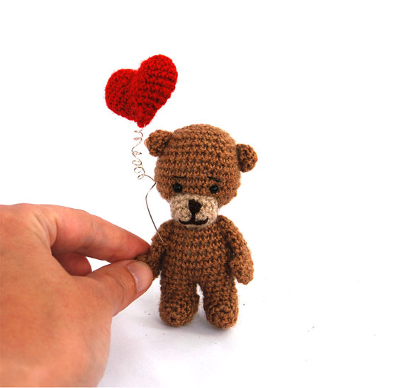 $33.86 gift for #Valentinesday tiny TEDDY BEAR with #redheart, #love ...