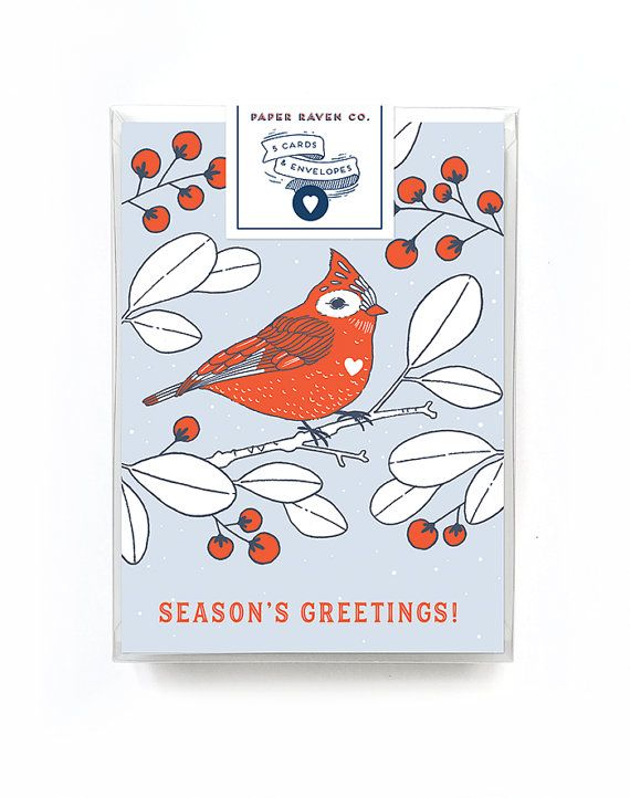 Holiday card box set of 5 christmas card red bird use code holiday card box set of 5 christmas card red bird use code reheart Gallery