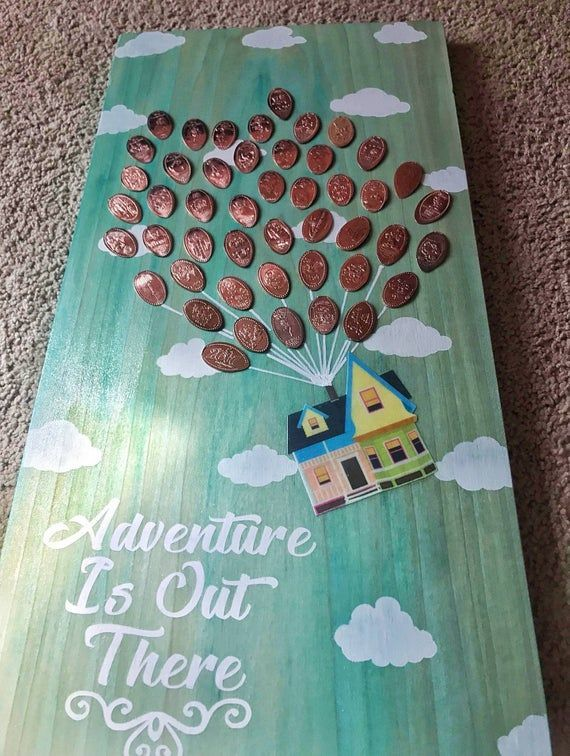 Photo of UP inspired Adventure Is Out There wooden pressed penny holder display 2 feet tall !