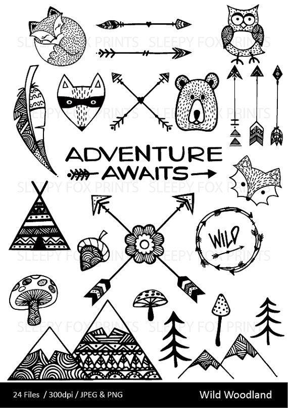 Wild Woodland Clipart, Wilderness,Arrows, Feather, Bear