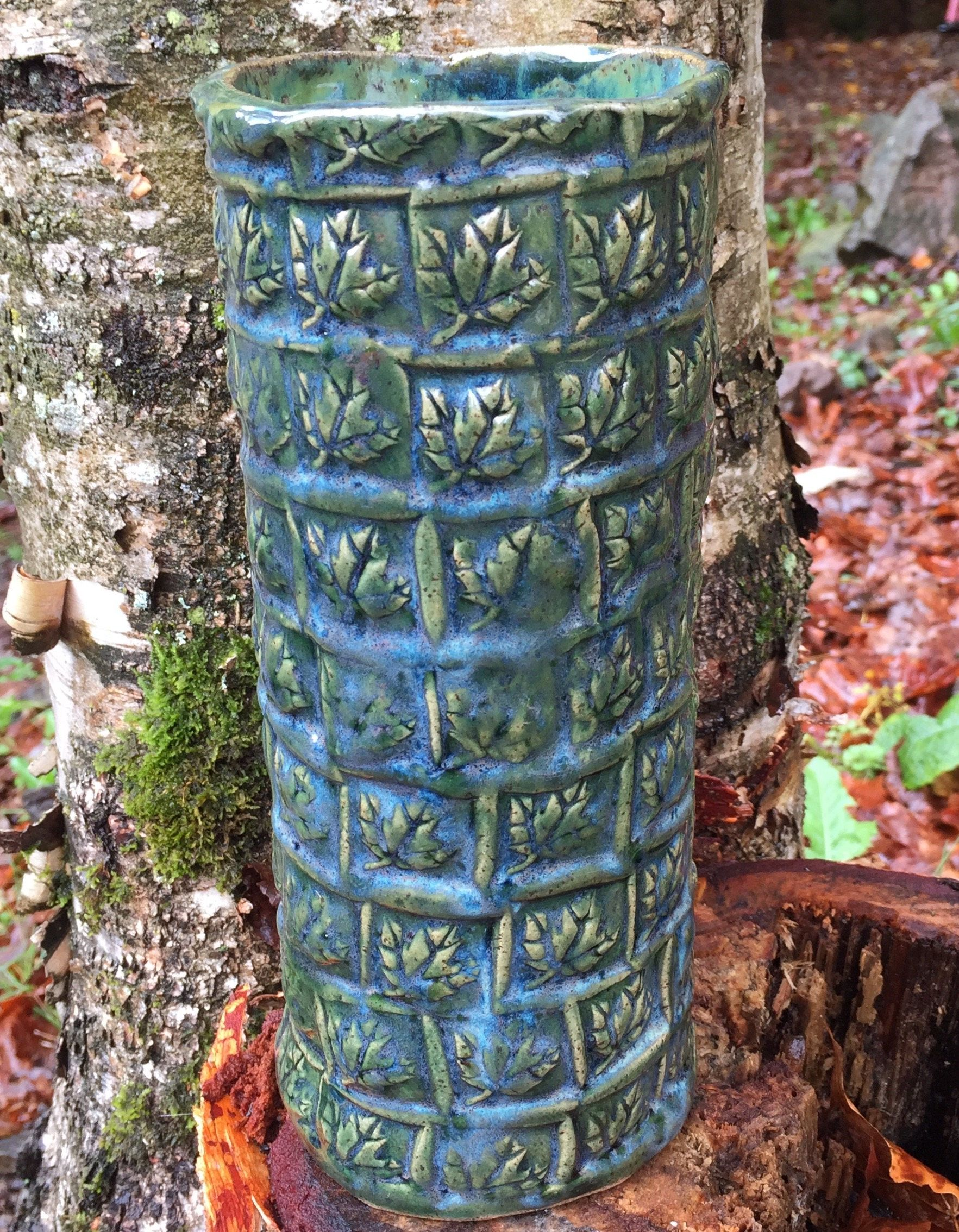 Tall Vase, Leaf Vase Pottery Handmade Handbuilt Tall Planter by NorthernWoodsStudio on Etsy