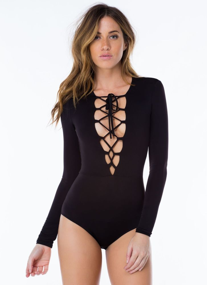 LACE UP FRONT COTTON SPANDEX SEXY BODYSUIT LONG SLEEVE V NECK CRISSCROSS STRAPS in Clothing, Shoes & Accessories, Women's Clothing, Leggings | eBay