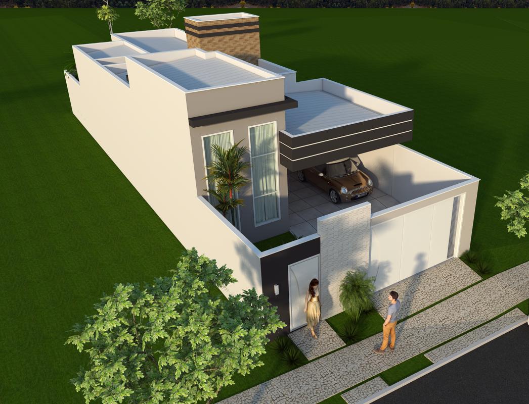 Projeto constru o casa t rrea moderna terreno 8 25 125 for Casa moderna 8