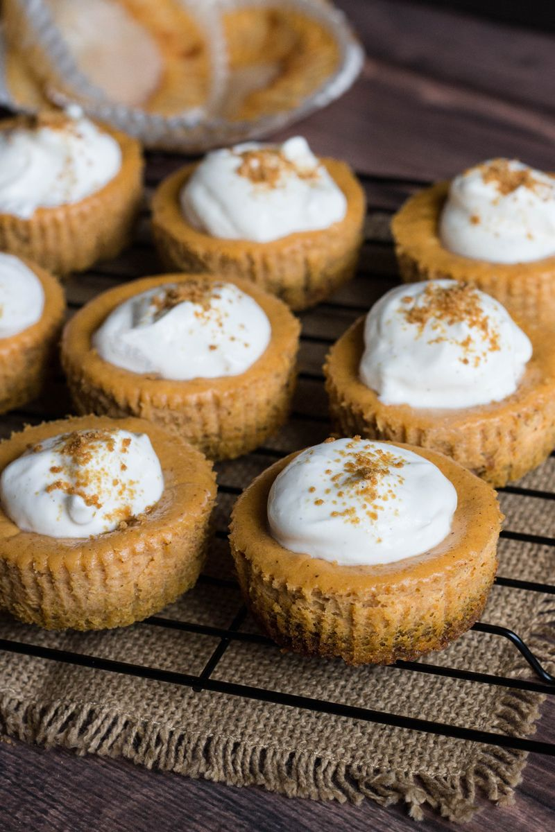 Mini Pumpkin Cheesecakes With Whipped Sour Cream Recipe Mini Pumpkin Cheesecake Cheesecake Recipes Thanksgiving Cheesecake