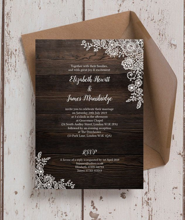 Rustic Wood Lace Wedding Invitation Wedding Save The Dates Wedding Save The Date Designs Wedding Saving