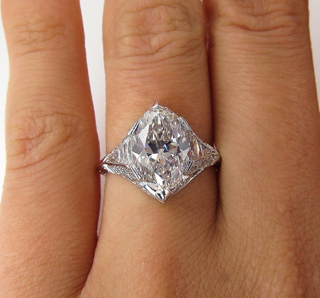 Vinatge gia near flawless ct oval diamond platinum engagement