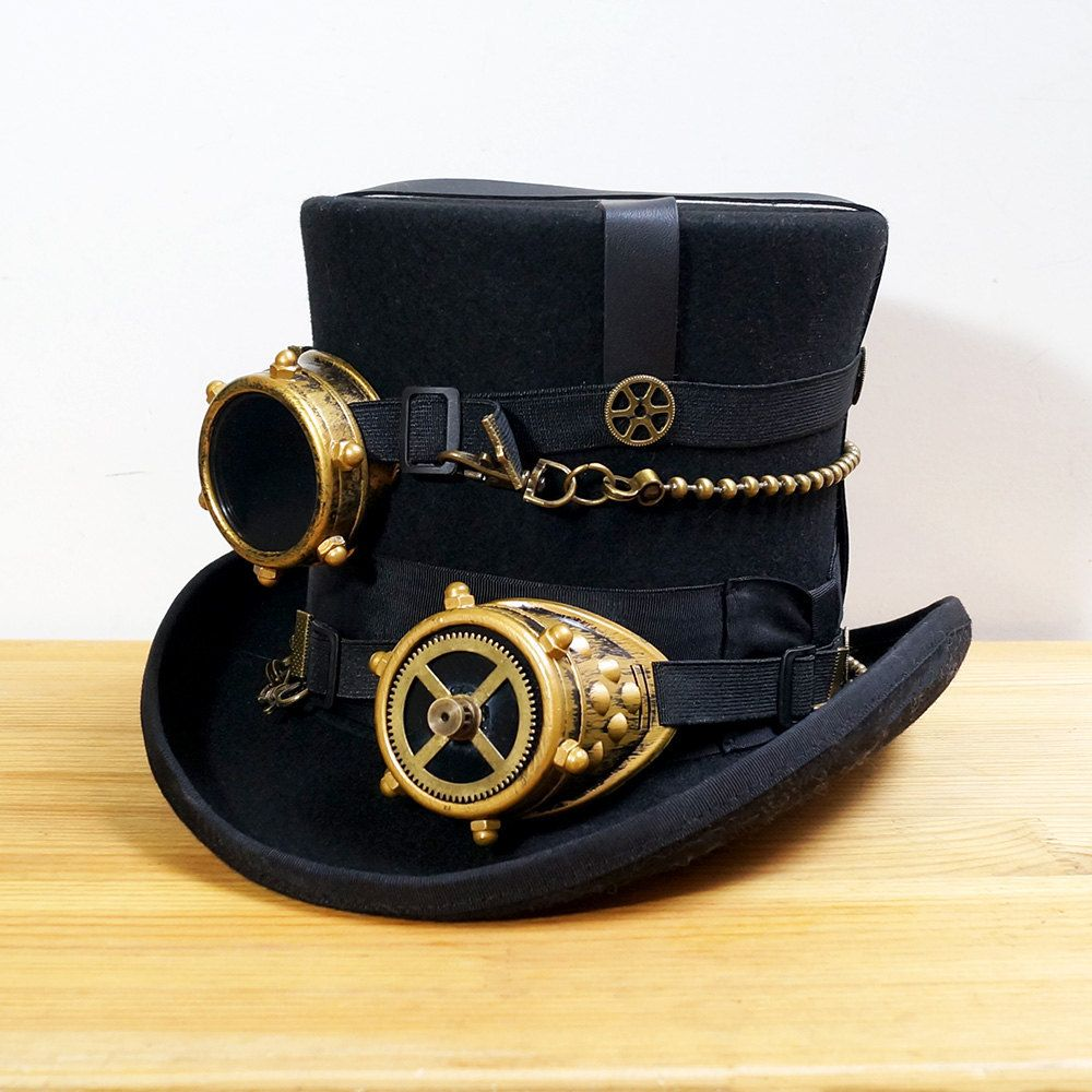 SteamPunk-Gothic-SCIFI-Cosplay-Victorian-TOP HAT WITH RED SWIRL OVERSIZE GOGGLES