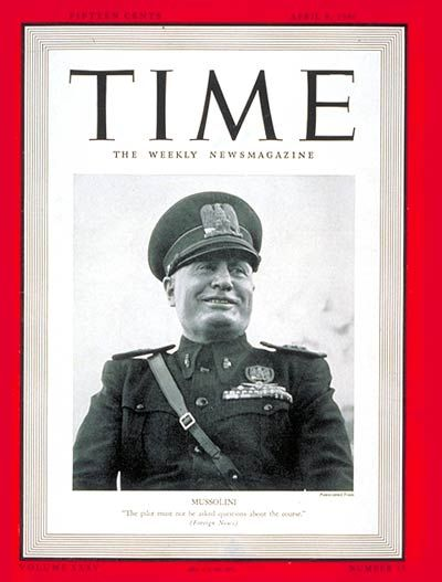 Italy's Benito Mussolini, 1941   Pain   Time magazine ...