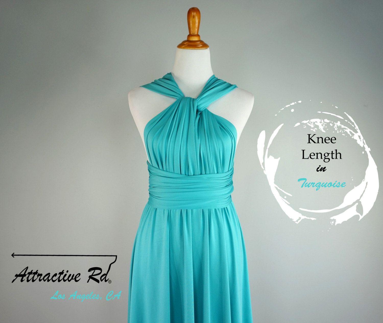 Bridesmaid prom turquoise dress/dress/knee length dress/convertible ...