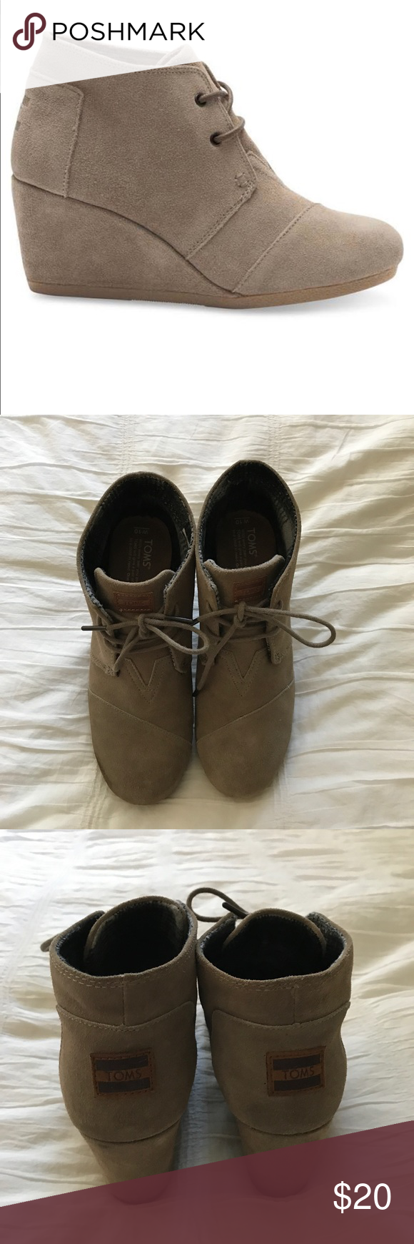 Toms Suede Booties Gently used Toms desert wedge booties in taupe! Toms Shoes Ankle Boots & Booties