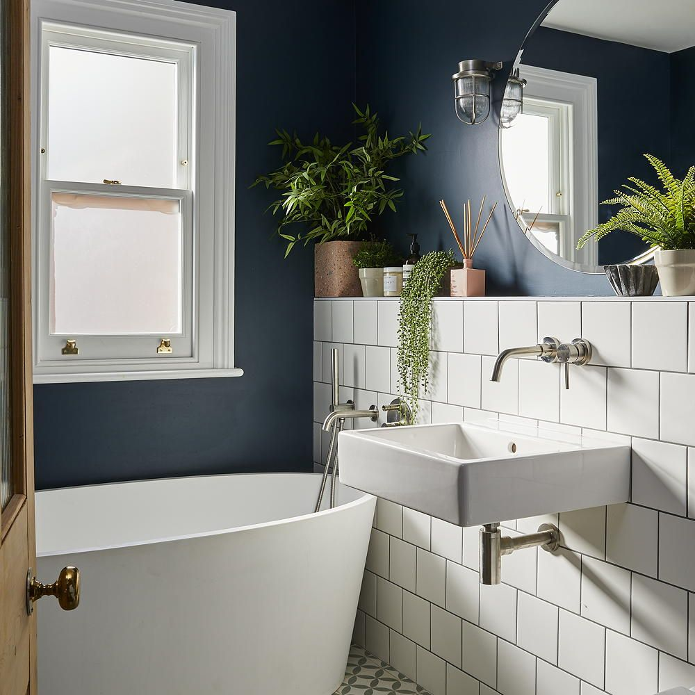 Modern Bathroom With Square White Tiles And Freestanding Oval Bath Tub Ideal Home Stylish Bathroom Modern Small Bathrooms Bathroom Design Small Small bathroom ideas ideal home