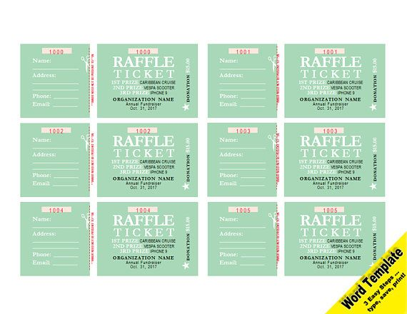 raffle tickets editable word template printable instant download
