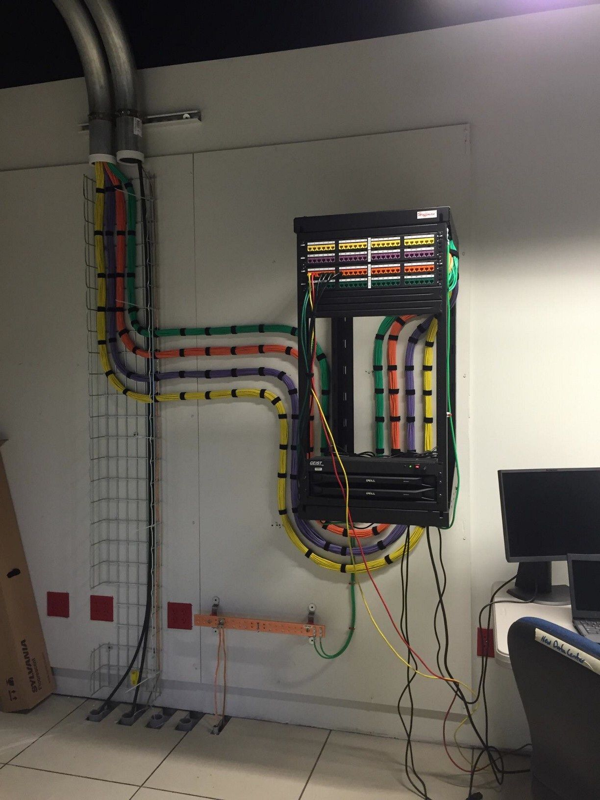 beautiful kvm cabling into a rack colorful yellow orange purple and green [ 1224 x 1632 Pixel ]
