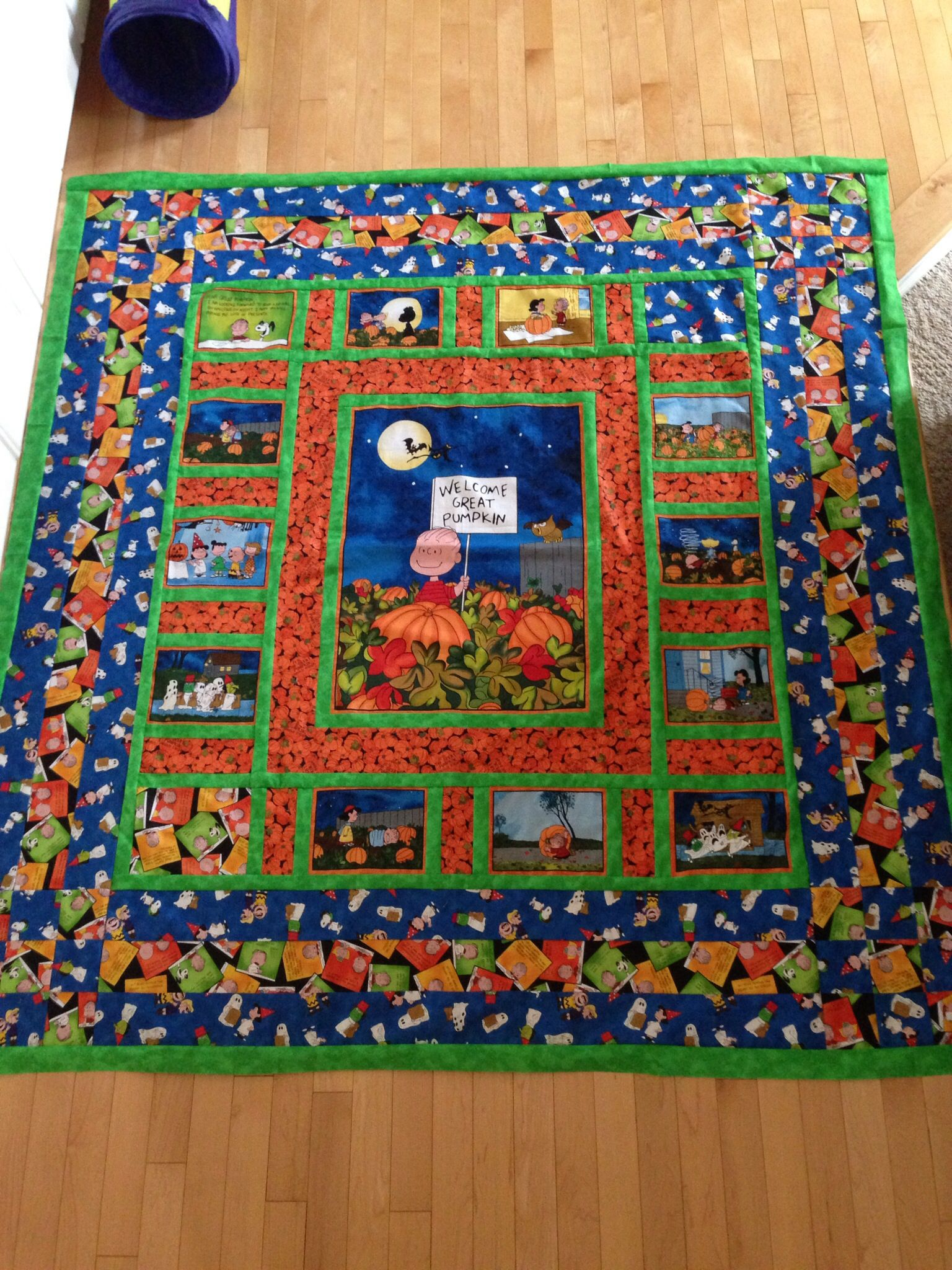 It S The Great Pumpkin Quilt I Made Panel Quilts Fall Quilts Halloween Quilts