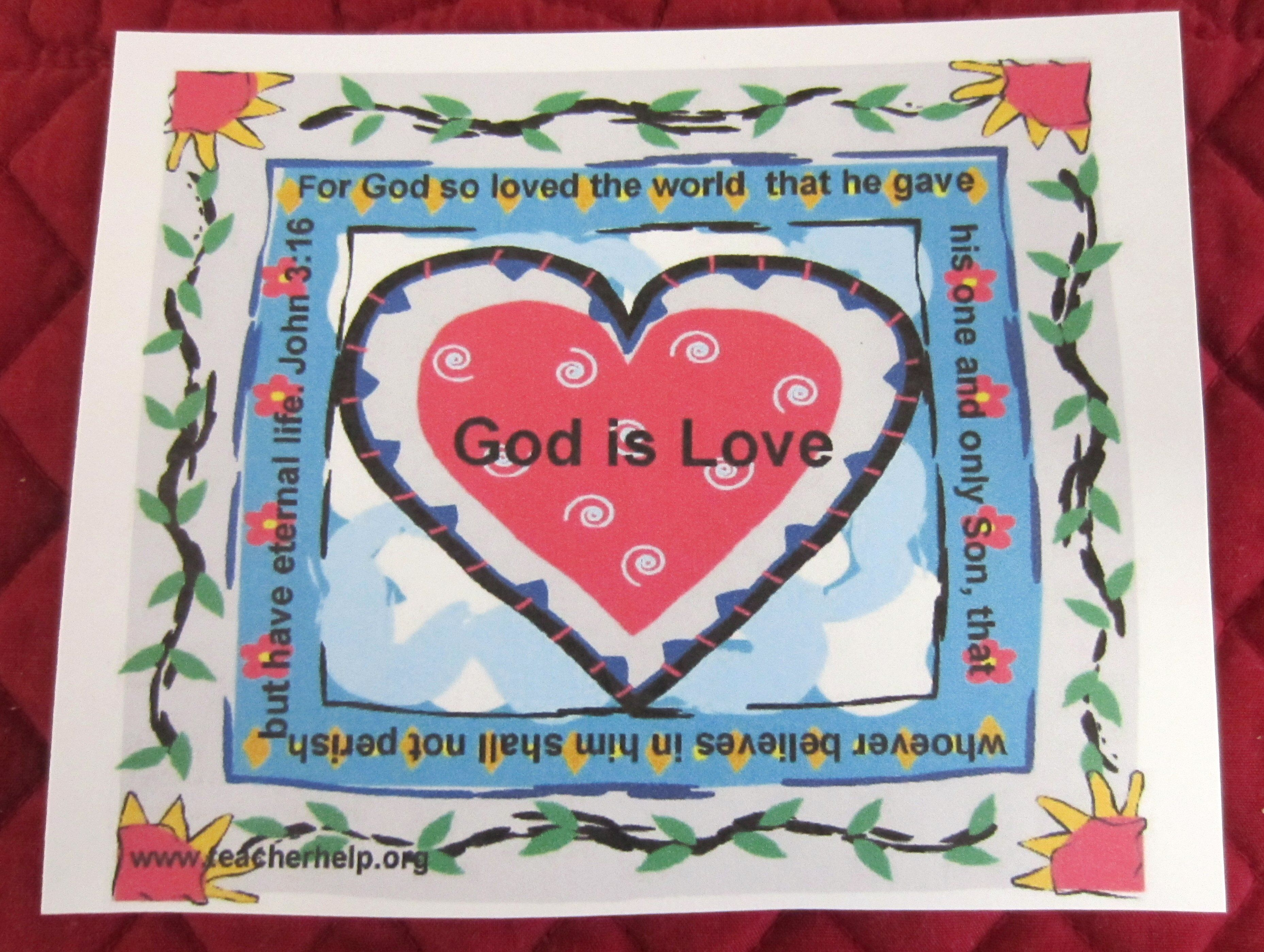 A Valentine Card With God Is Love In The Center And John 3