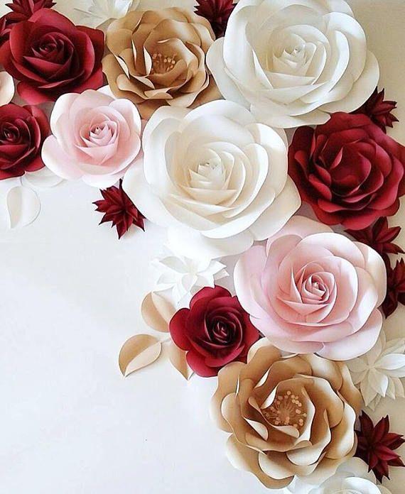 Large Paper Flowers Wedding Decoration Ideas White Paper Flowers