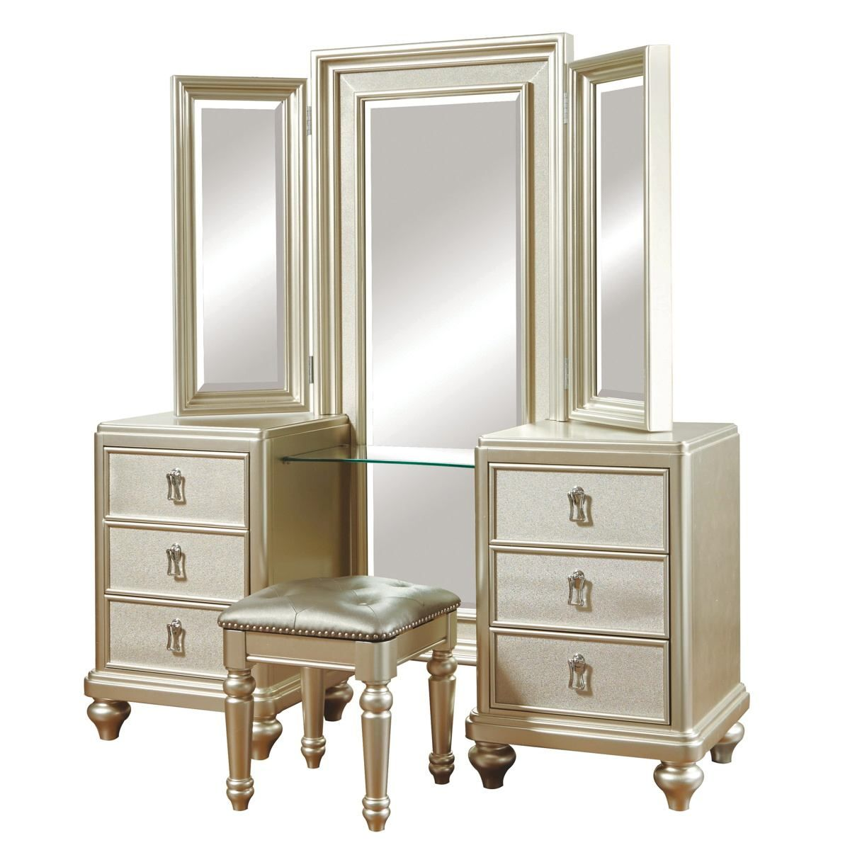 Samuel Lawrence Diva Vanity Dresser And Mirror W Stool In Lustrous Platinum Vanity Dresser With Images Upholstered Bedroom Set Diva Bedroom Set Diva Bedroom