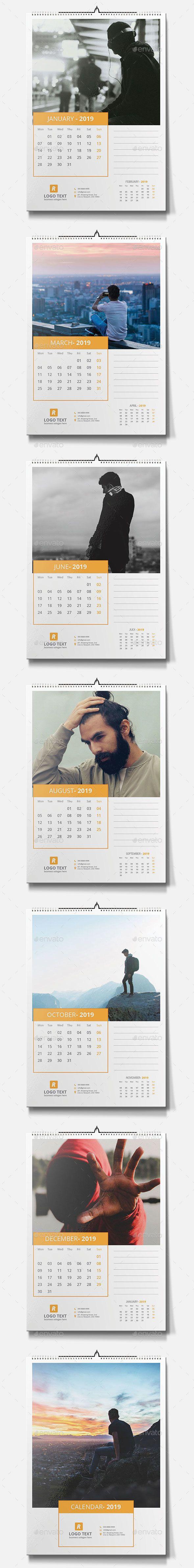 Wall Calendar 2019 Design Template Vector Eps Ai Illustrator 12