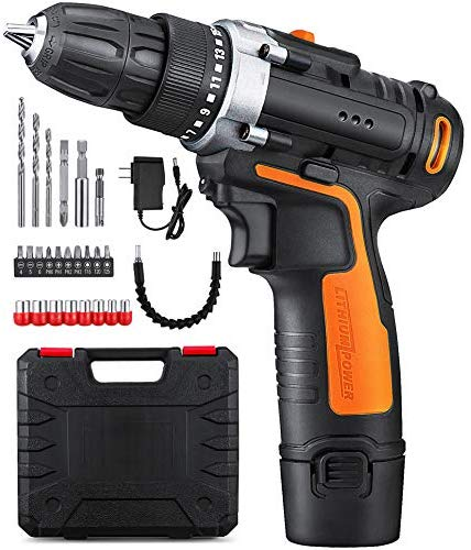 Yimaler 12v Cordless Drill Driver Kit Handheld Drill 1 5ah Li Ion 26 Accessories 3 8 Chuck Max Torque 265 In Lb 2 Speed Fast Charger Led Light For Household Jo Cordless Drill Drill Drill Driver