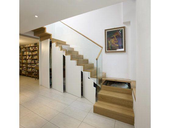faltwerktreppe mit bibliothek und unterbau schrank offen stairs pinterest bibliothek. Black Bedroom Furniture Sets. Home Design Ideas