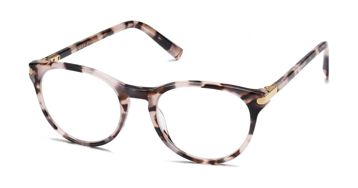 Jane eyeglasses in blush tortoise with polished gold for